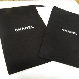 Pair CHANEL Black Dust Bag Cover Dustbags 12.5x7.5